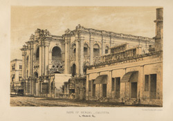 'Bank of Bengal'.  Lithograph by Vincent Robert Alfred Brooks.  One of Eight views of Calcutta, published London, c.1870.